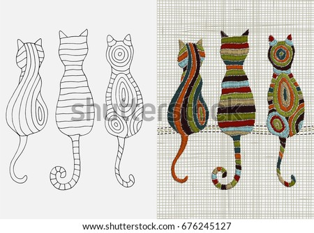 Set Embroidery Patterns Cats Zentangle Style Stock Vector Royalty