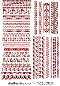 Set of embroidery patterns like handmade cross-stitch. Traditional red and black colors. Vector ornaments. Ukrainian art borders