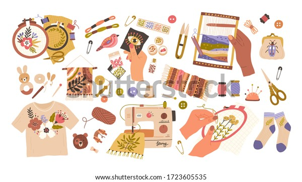 Set of embroidery and weaving vector flat illustration. Collection of different type handmade creative hobby isolated on white. Sewing with beads, floss thread, stitch fancywork, machine embroidery