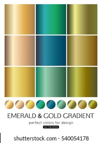 Set of emerald and gold gradients. Vector illustration.