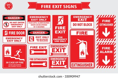 Set of emergency exit Sign (fire exit, emergency exit, fire extinguisher, fire door).