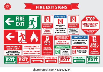 Set of emergency exit Sign (fire exit, emergency exit, fire assembly point, door must remain closed, alarm will sound, emergency exit only, no re-entry to building, push until alarm sound).