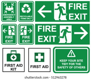 Set of emergency fire exit , emergency assembly area, first aid green signs with different directions isolated . Building site attention sign of keep your site tidy for the safety of others.