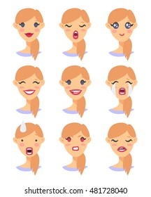Set of emoji character. Cartoon style emotion icons. Isolated girl avatars with different facial expressions. Flat illustration women's emotional faces. Hand drawn vector drawing emoticon
