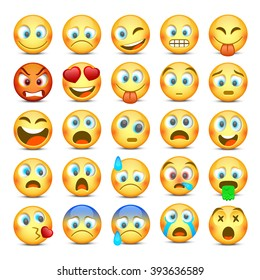 Set of Emoji. Collection template design element, Vector illustration