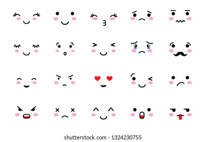 Set of Emoji with different mood. Kawaii cute smile emoticons and Japanese anime emoji faces expressions. Vector cartoon style comic sketch icons set.