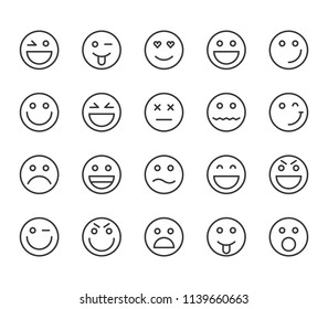 Set of Emoji Emoticons Icons Vector Editable Stroke. 48x48 Pixel Perfect.