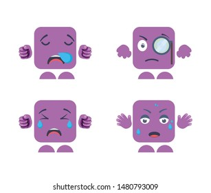 Set of emoji expressions vector designs that include sleepy face, face with monocle emoji, Crying emoji expression of sadness, Open mouth sweating Emoji expression