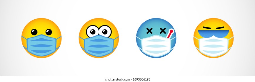 Set of emoji faces in medical masks. Smiling yellow characters. Isolated abstract graphic design template. Greeting card concept. Cute emoticons for Stay Home banner. World Smile Day 2020 congrats.