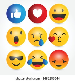 Set of emoji icons, vector illustration template.