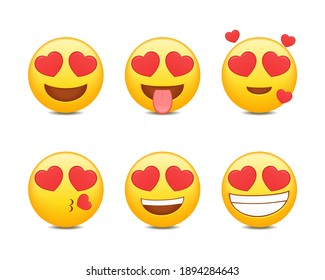 Set of emoji with love eye. Emoticon with red heart with in love. Cute expression. Illustration vector