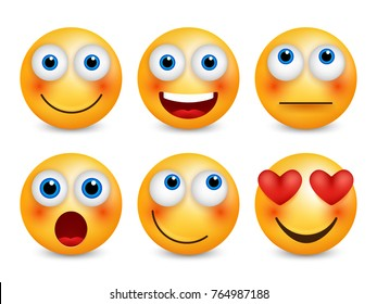 Set of emoji. Smileys emoticons. Isolated vector image