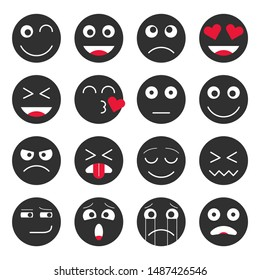 Set of emoji sticker set in black color. Emoji icons in flat style. Isolated vector illustration on white background.