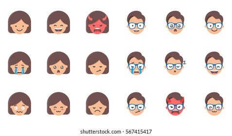 Set of emoji, stickers. Female and male characters