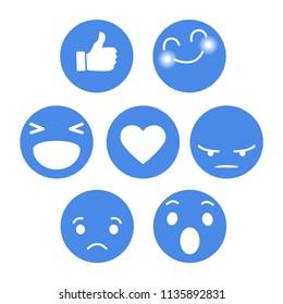 Set of Emoticon with emoji Flat Design Style blue color, social media reactions. smiley vector illustration