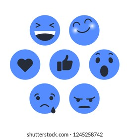 Set of Emoticon with emoji Flat Design Style blue color, social media reactions. smiley vector illustration
