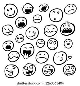 Set of emoticon hand drawn pattern vector