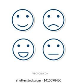 Set of emoticon icons. Smile icon. Modern icon design.