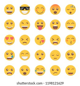 Set of emoticon smile icon in a flat design.