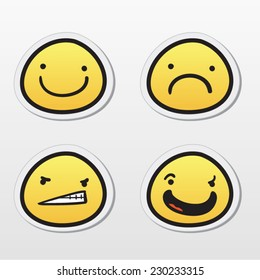 Set of emoticons with different expressions