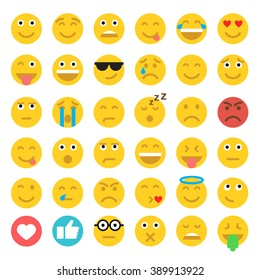 Set of Emoticons. Set of Emoji. Flat style illustrations