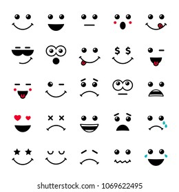 Set of emoticons or emoji illustration line icons. Smile icons line art isolated illustration on white background. Vector cartoonish emoticons for card or web banner