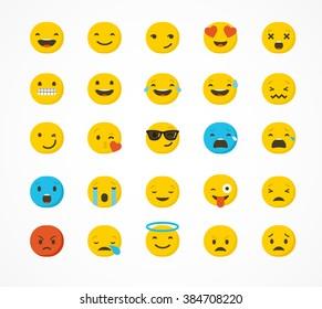 Set of emoticons, emoji isolated on white background, flat illustration