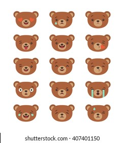Set of emoticons, emoji isolated on transparent background, vector illustration,  infographics, animation, websites, comics, apps. Cartoon bear stickers emoticons. Character design. Bear face emotions