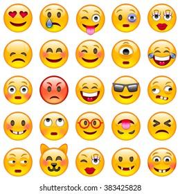 Set of Emoticons. Set of Emoji. Smile icons. Isolated vector illustration on white background