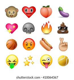 Set of emoticons, emoji, white background