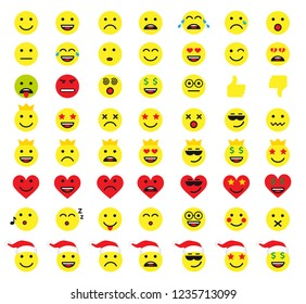 Set of emoticons or emoji yellow icons. Smile and heart icons line art isolated illustration on white background. Vector cartoonish icon in red santa hat for greeting card or web banner