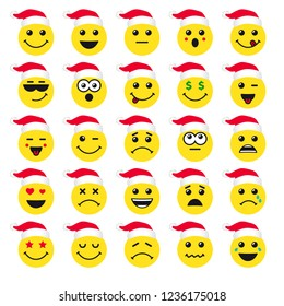 Set of emoticons or emoji yellow icons in santa hat. Smile illustration line art isolated on white background. Vector cartoonish icon in red xmas hat for greeting card or happy new year banner