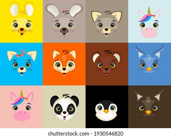 A set of emoticons or emoticons for the face. Animal face emojis with loving, crying, laughing and cute facial expressions of the characters isolated on a white background.