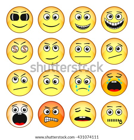 Set of Emoticons. Funny Faces Show Different Emotions. EPS-10. Transparency  was