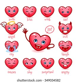 Set of emoticons funny heart for Valentine's Day. Smile, kiss, wink, sad, evil, cry, laugh, teases, shy, surprised, angry. Cute heart showing different emotions. Vector icons on white background.