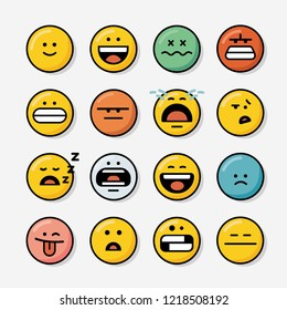 Set of Emoticons. Icon Set of Emoji. Smile icons. Vector illustration in a cartoon style,isolated on grey background.Set of emoticons with different emotions in a flat design.
