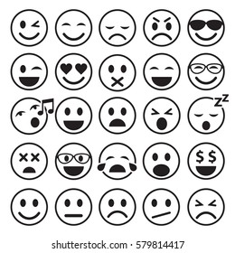 Set of Emoticons icons outline. Smiley line different icons. Vector isolated illustration on white background.
