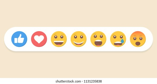 Set of emoticons and like. Vector illustration.