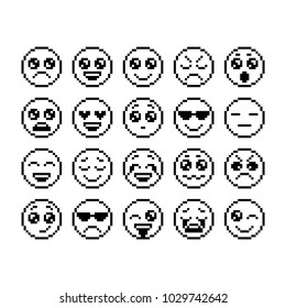 Set of emoticons, pixel emoji. Characters isolated. Vector