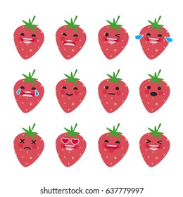 Set of Emoticons. Smile Emoji icons. Cute strawberry. Isolated vector illustration