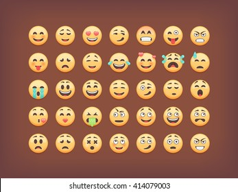 Set of emoticons, smileys  icon pack, isolated on brown background, vector illustration.