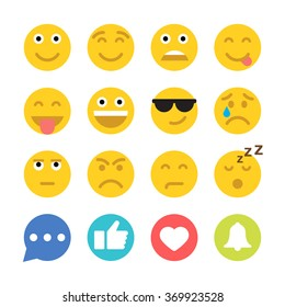 Set of Emoticons and Social Network Icons. Set of Emoji. Flat style illustrations