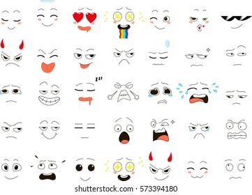 Set of emoticons. vector