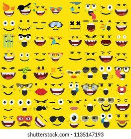 Set of emoticons yellow faces. Emoji characters