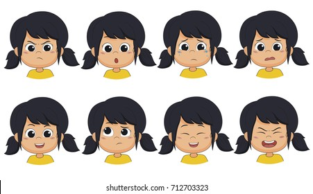 Set of emotion cute girl [angry ,surprised,cry,fear,smile,think,laugh,shout].vector and illustration.