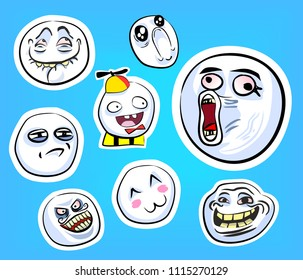 Set of emotional crazy stickers with internet memes for everyday expressions in social media, chat, messages,  mobile and web apps, internet communication and printed material.