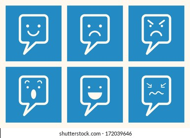 Set of emotional expression speech bubble icon, happy, smile, angry, surprise, cry, sad, bad mood, speaking, and upset. Communication concept.