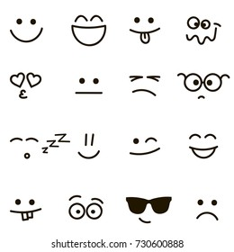 Set of emotional hand drawn faces