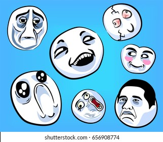 Set of emotional stickers with internet memes for everyday expressions in social media, chat, messages, mobile and web apps, internet communication and printed material.