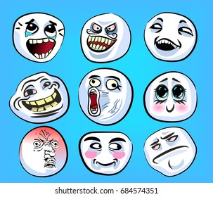 Set of emotional stickers with internet memes for everyday expressions in social media, chat, messages, mobile and web apps, internet communication. Funny faces for your design